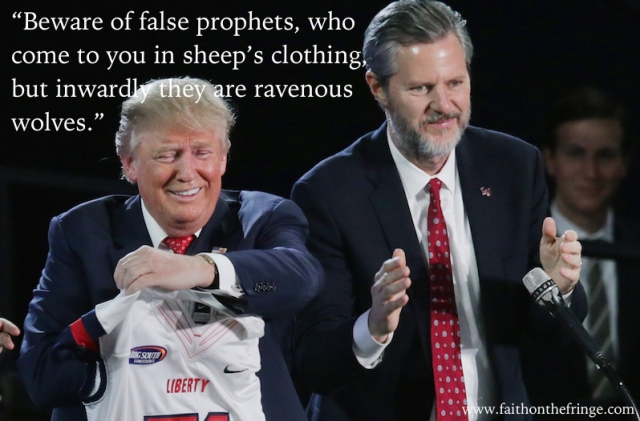 LYNCHBURG, VA - JANUARY 18: Liberty University President Jerry Falwell, Jr. (R) presents Republican presidential candidate Donald Trump with a sports jersey after he delivered the convocation in the Vines Center at the university January 18, 2016 in Lynchburg, Virginia. (Photo by Chip Somodevilla/Getty Images)