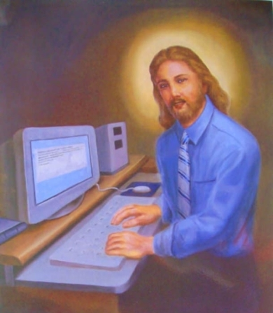 Middle class Jesus, working on his computer